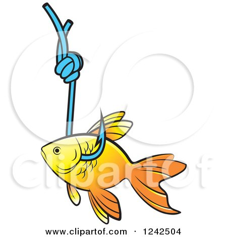 Clipart of a Goldfish Caught on a Hook - Royalty Free Vector Illustration by Lal Perera