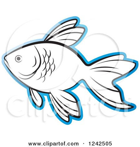 Clipart of a Black and White Fish Outlined in Blue - Royalty Free Vector Illustration by Lal Perera