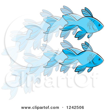 Clipart of a Leaping Blue Fish in Action - Royalty Free Vector Illustration by Lal Perera