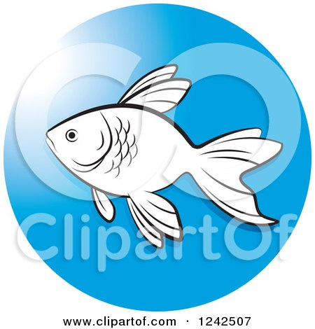 Clipart of a Black and White Fish in a Blue Circle - Royalty Free Vector Illustration by Lal Perera