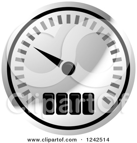 Clipart of a Silver Dash Board Speedometer - Royalty Free Vector Illustration by Lal Perera