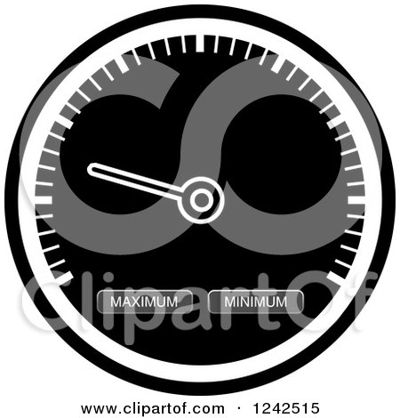 Clipart of a Grayscale Dash Board Speedometer - Royalty Free Vector Illustration by Lal Perera