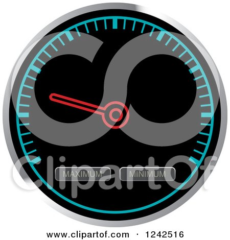 Clipart of a Round Black and Blue Dash Board Speedometer - Royalty Free Vector Illustration by Lal Perera