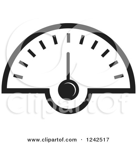 clipart of a black and white dash board speedometer - royalty free