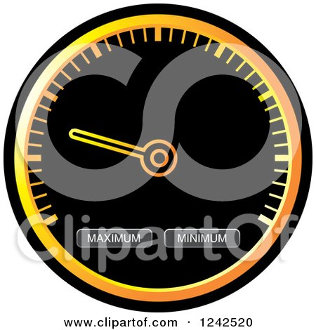Clipart of a Round Black and Orange Dash Board Speedometer - Royalty Free Vector Illustration by Lal Perera
