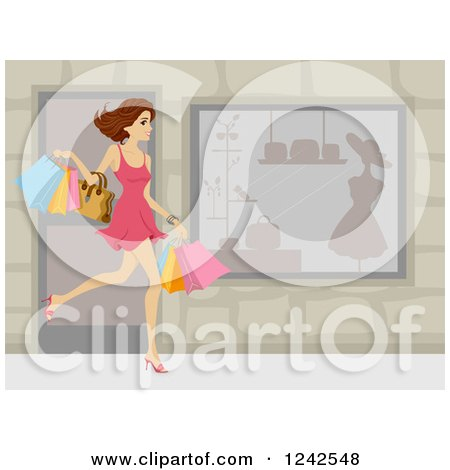 Clipart of a Happy Caucasian Woman Carrying Shopping Bags by a Store - Royalty Free Vector Illustration by BNP Design Studio