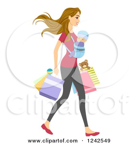 Clipart of a Young Mom Shopping with Her Baby on Her Chest - Royalty Free Vector Illustration by BNP Design Studio