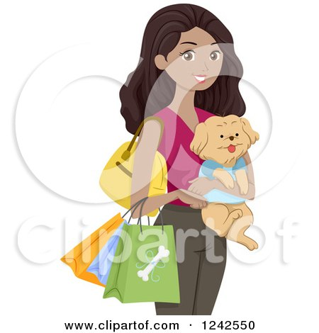 Clipart of a Happy Black Woman Carrying a Dog and Shopping Bags of Pet Supplies - Royalty Free Vector Illustration by BNP Design Studio
