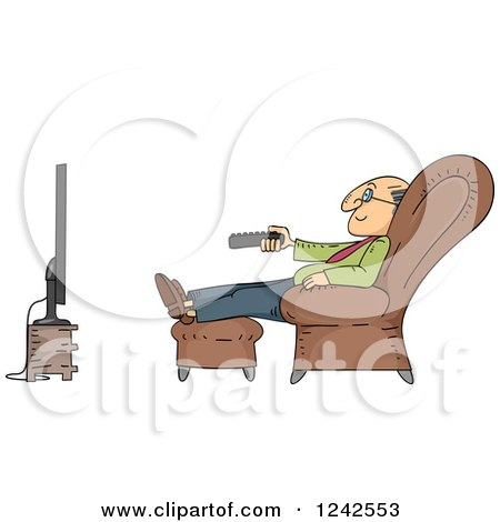 Clipart of a Senior Man Watching Tv in a Chair - Royalty Free Vector Illustration by BNP Design Studio