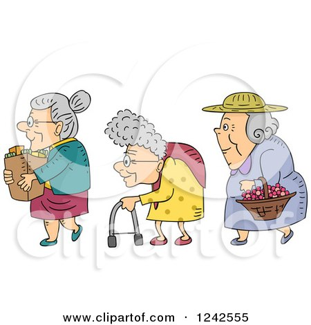 Clipart of Senior Ladies with Groceries, a Walker and Basket of Flowers - Royalty Free Vector Illustration by BNP Design Studio