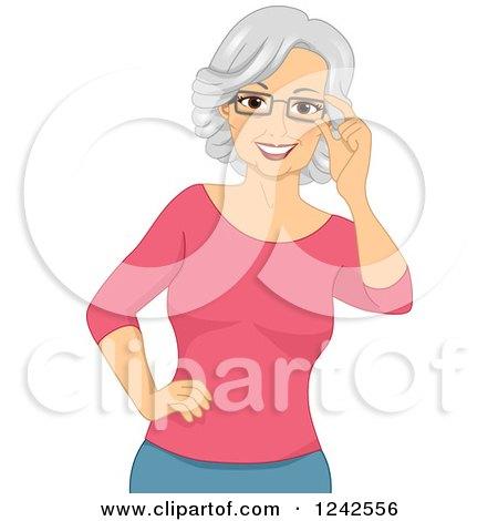 Happy Caucasian Senior Woman Touching Her Eyeglasses Posters, Art Prints