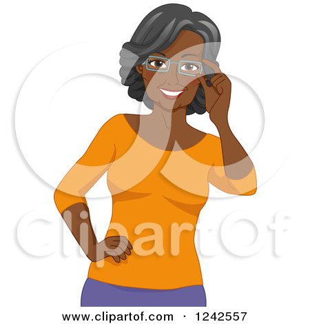 Clipart of a Happy African American Senior Woman Touching Her Eyeglasses - Royalty Free Vector Illustration by BNP Design Studio
