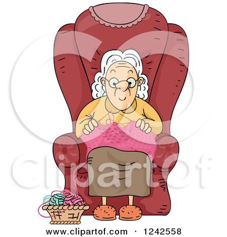 Clipart of a Senior Lady Knitting in a Chair - Royalty Free Vector Illustration by BNP Design Studio