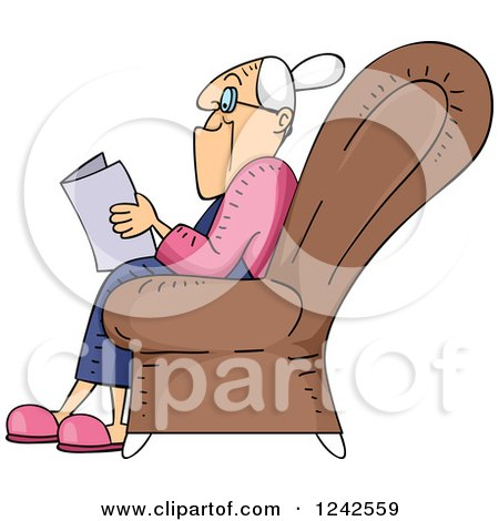 Clipart of a Senior Lady Reading a Book in a Chair - Royalty Free Vector Illustration by BNP Design Studio