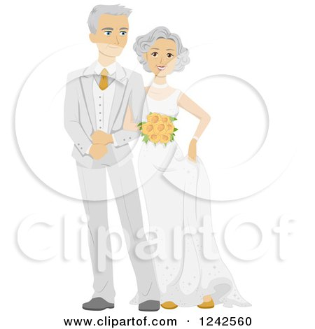 Clipart of a Happy Caucasian Newlywed Couple - Royalty Free Vector Illustration by BNP Design Studio