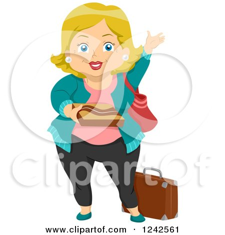 Clipart of a Happy Chubby Blond Grandma Waving - Royalty Free Vector Illustration by BNP Design Studio