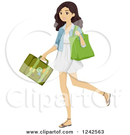 Clipart of a Young Brunette Woman Carrying a Bag and Suitcase - Royalty Free Vector Illustration by BNP Design Studio