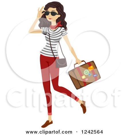 Clipart of a Stylish Woman Carrying a Suitcase - Royalty Free Vector Illustration by BNP Design Studio