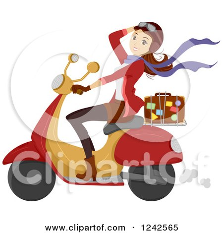 Clipart of a Young Woman Driving a Scooter with a Suitcase on the Back - Royalty Free Vector Illustration by BNP Design Studio