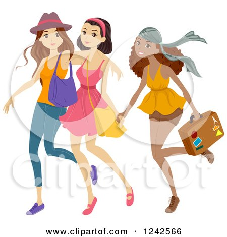 Clipart of a Trio of Diverse Teen Girls Going on a Trip - Royalty Free Vector Illustration by BNP Design Studio