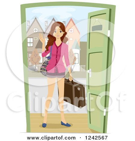 Clipart of a Young Woman with Luggage, Waving Hello at a Dor - Royalty Free Vector Illustration by BNP Design Studio