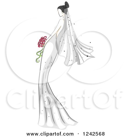 Clipart of a Sketched Bride in Her Gown - Royalty Free Vector Illustration by BNP Design Studio