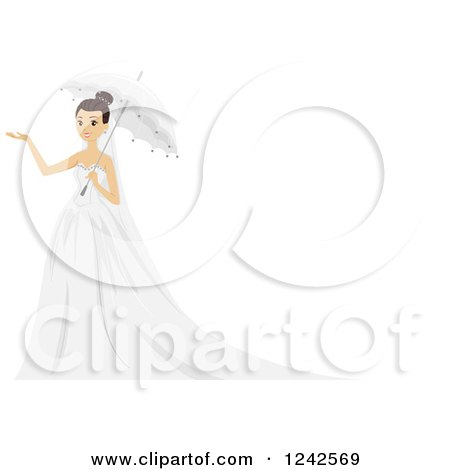 Clipart of a Bride Holding an Umbrella and a Hand out - Royalty Free Vector Illustration by BNP Design Studio