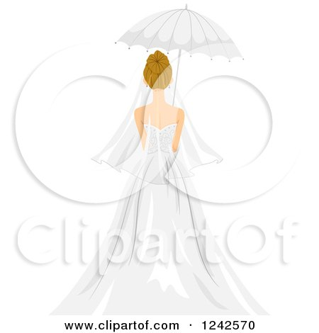 Clipart of a Rear View of a Bride with a Parasol Umbrella - Royalty Free Vector Illustration by BNP Design Studio