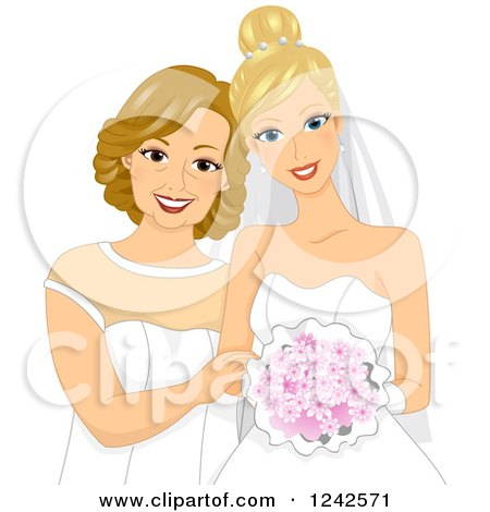 Clipart of a Blond Caucasian Bride and Her Mother - Royalty Free Vector Illustration by BNP Design Studio