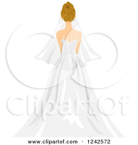 Clipart of a Rear View of a Blond Bride - Royalty Free Vector Illustration by BNP Design Studio