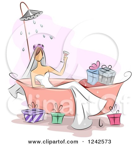 Clipart of a Bridal Shower of a Woman in a Tub with Gifts - Royalty Free Vector Illustration by BNP Design Studio