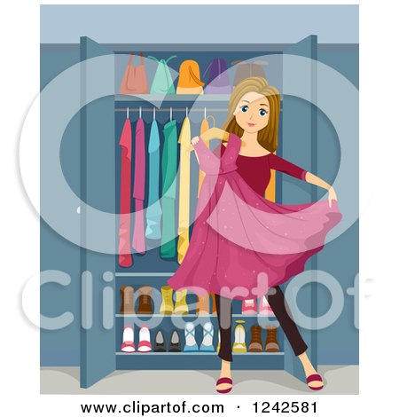 Clipart of a Teenage Girl Holding a Sparkly Pink Dress in Front of a Closet - Royalty Free Vector Illustration by BNP Design Studio