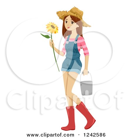 Clipart of a Teenage Farmer Girl Holding a Sunflower and Carrying a Bucket - Royalty Free Vector Illustration by BNP Design Studio