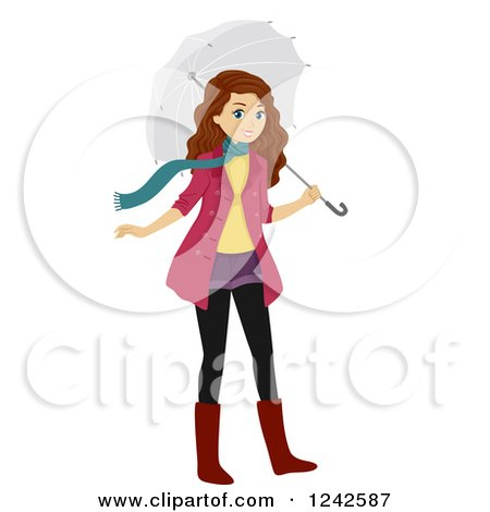 Clipart of a Teenage Girl in Winter Clothes, with an Umbrella - Royalty Free Vector Illustration by BNP Design Studio