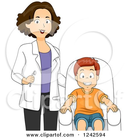 Clipart of a Female Dentist Standing by a Happy Smiling Boy - Royalty Free Vector Illustration by BNP Design Studio