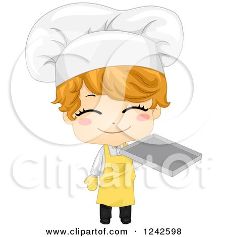 Clipart of a Happy Baker Boy Holding a Tray - Royalty Free Vector Illustration by BNP Design Studio