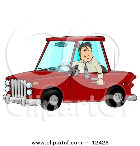 Man With an Extreme Buzz Driving While Intoxicated and Putting Other People at Danger Clipart Illustration by djart
