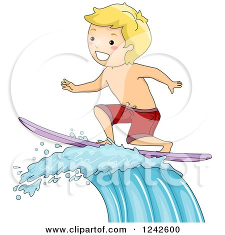 Clipart of a Blond Boy Surfing a Wave - Royalty Free Vector Illustration by BNP Design Studio