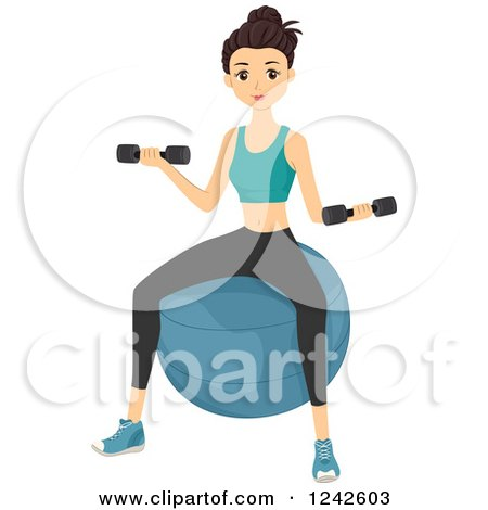 Clipart of a Fit Woman Sitting on an Exercising and Working out with Dumbbells - Royalty Free Vector Illustration by BNP Design Studio