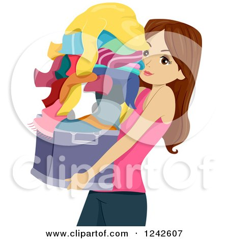 Clipart of a Teenage Girl Carrying a Basket of Laundry - Royalty Free Vector Illustration by BNP Design Studio