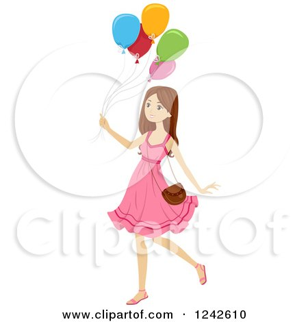 Clipart of a Teen Girl in a Pink Dress, Walking with Balloons - Royalty Free Vector Illustration by BNP Design Studio