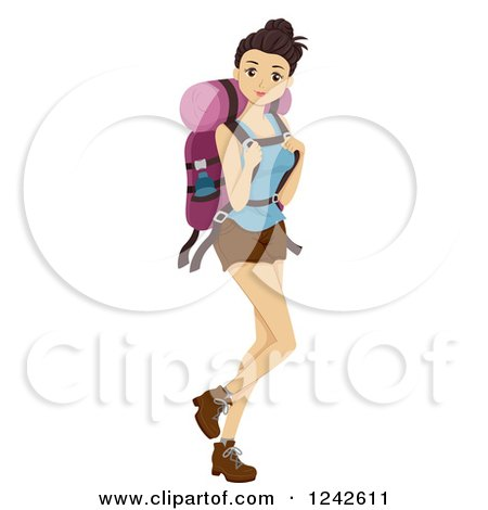 Young Woman with a Hiking Backpack Posters, Art Prints