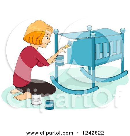 Clipart of a Red Haired Woman Painting a Baby Crib Blue - Royalty Free Vector Illustration by BNP Design Studio