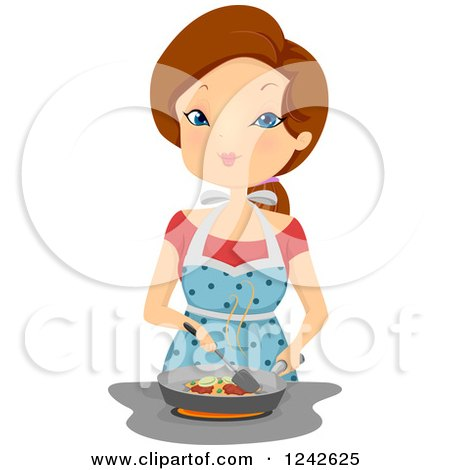 Clipart of a Woman Frying Food at a Stove Top - Royalty Free Vector Illustration by BNP Design Studio