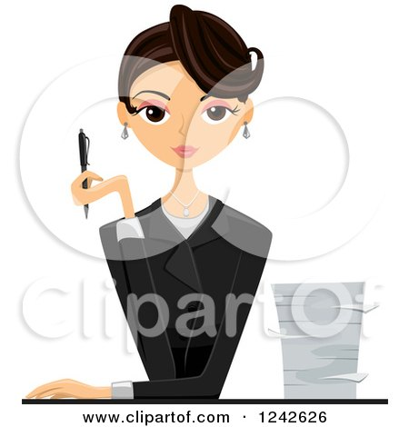 Clipart of a Businesswoman Holding a Pen by a Stack of Paperwork - Royalty Free Vector Illustration by BNP Design Studio
