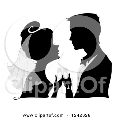Clipart of a Silhouetted Bride and Groom with Champagne During the Wedding Toast - Royalty Free Vector Illustration by BNP Design Studio