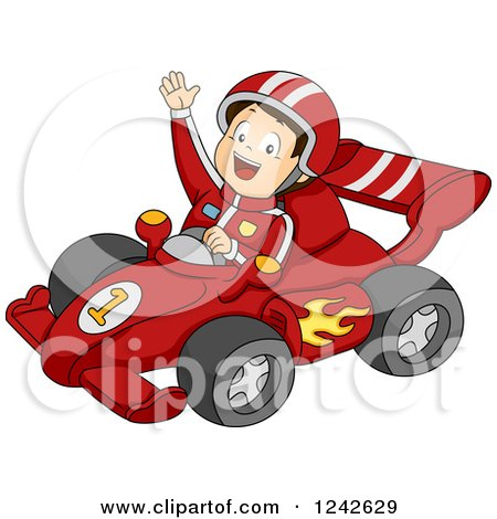 Clipart of a Happy Boy Waving and Driving a Red Race Car - Royalty Free Vector Illustration by BNP Design Studio