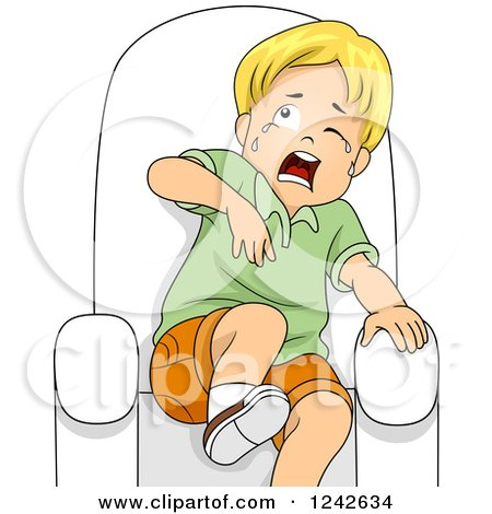 Clipart of a Blond Boy Crying and Acting Scared in a Chair - Royalty Free Vector Illustration by BNP Design Studio