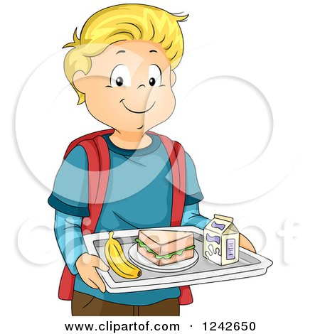 Clipart of a Happy Blond School Boy Carrying a Cafeteria Lunch Tray - Royalty Free Vector Illustration by BNP Design Studio