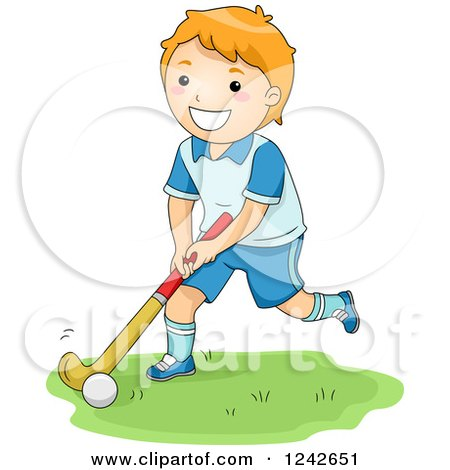 Clipart of a Happy Red Haired Boy Playing Field Hockey - Royalty Free Vector Illustration by BNP Design Studio
